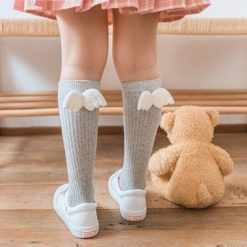 Baby Girls Socks Angel Wing Toddlers Girl Long Soft Cotton Children Sock Solid Knee High Socks