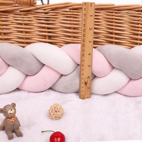 Newborn Baby Bed Bumper Pure Weaving Plush Knot Crib Bumper Kids Bed Cot Protector