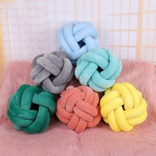 Baby Bed Bumper Knot Ball Long Handmade Knotted Braid Weaving Plush Baby Crib Protector Infant Pillow