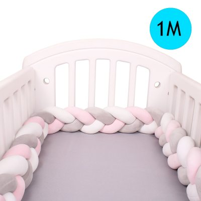 Newborn Baby Bed Bumper Pure Weaving Plush Knot Crib Bumper Kids Bed Cot Protector