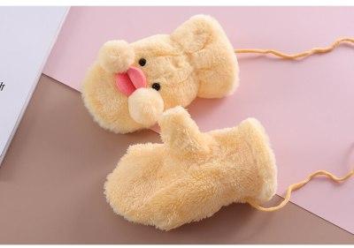 Winter Warm Soft False Fur Children's Gloves Cute Cartoon Gloves Mittern Velvet Thick Glove
