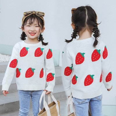 Parent-child Sweater Pullover Cotton Soft Strawberry jacquard Children's Clothing 1-7Years