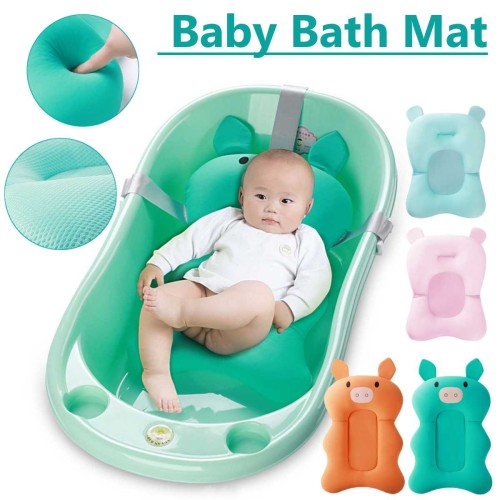Baby Foldable Shower Bath Pad Safety Pillow Baby Bath Tub Seat Mat Newborn Anti-Slip Soft Support Cushion Mats