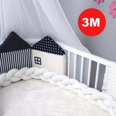 1M/2M/3M Baby Crib Protector Knot Baby Bed Bumper Weaving Plus Crib Cushion Room Decor