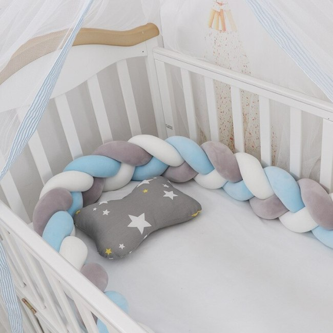 1M/2M/3M Baby Crib Bumper Protector Cot Bumpers Baby Bed Bumper Knot Infant Room Decor