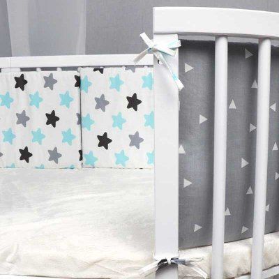 Baby Bed Bumper Print Double-faced Detachable Newborn Crib Around Cot Protector Kids Room Decor