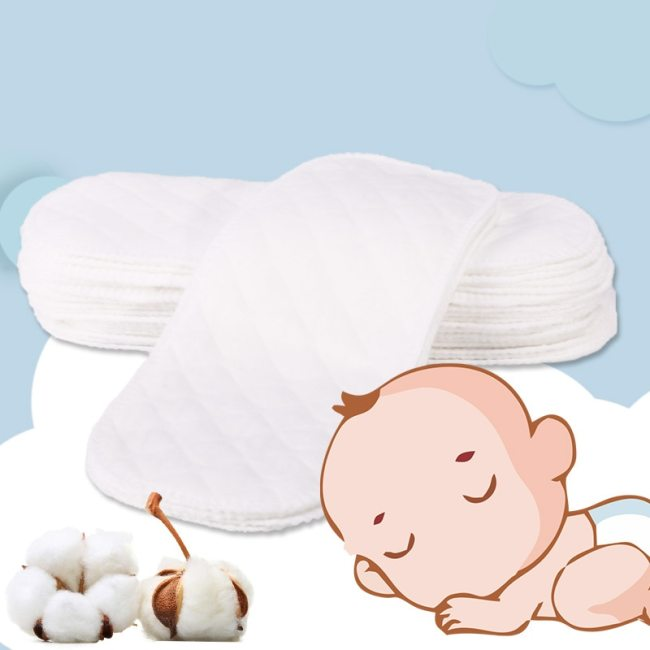 6 Pcs Baby Nappies Reusable Baby Infant Newborn Cloth Eco-friendly Diaper Nappy Liners Insert 3 Layers Cotton