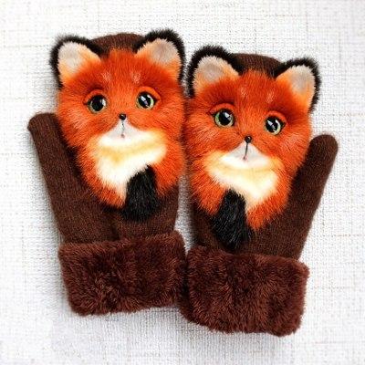 Cartoon Baby Mittens Winter Warm Children's Knitting Gloves For Kids Thickening Gloves Christmas Gifts