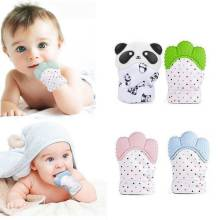 Newborn Safe Silicone Baby Gloves Mitt Teething Candy Wrapper Sound Teether Mittens Bite Training Gloves