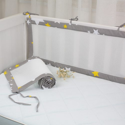 2Pcs Set Breathable Baby Bedding Bumper Collision Half Around baby bumper crib set Cotton Printing Mesh Safety Rails