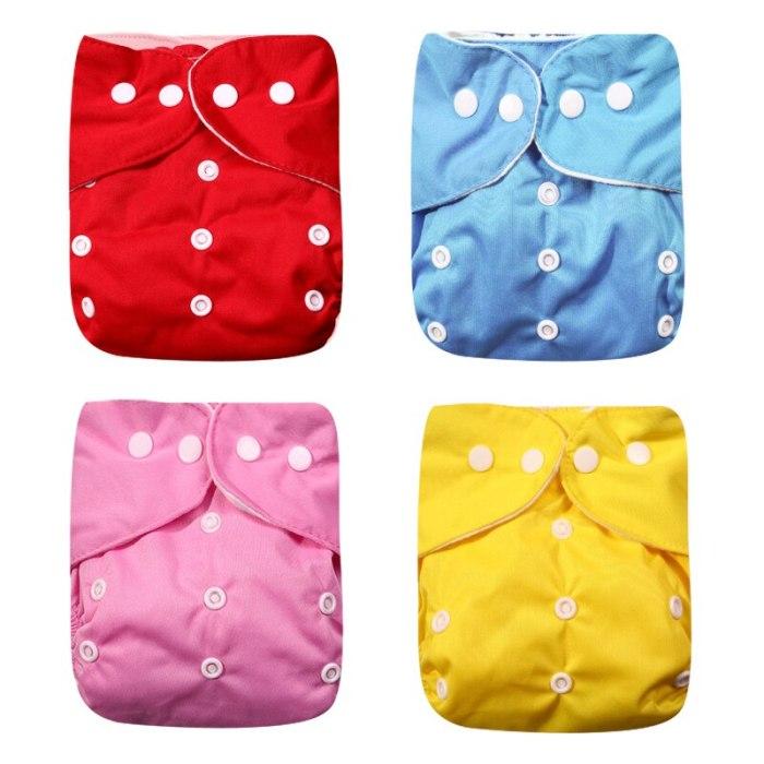 Pocket Diaper 4pcs/set Washable Reusable Baby Nappy Print Adjustable Baby Diaper Cover