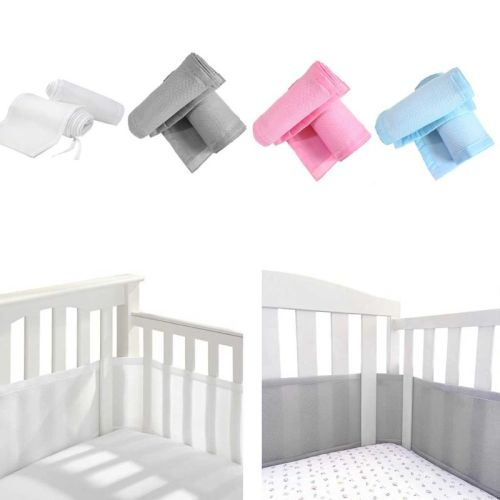 4 Sided Baby Breathable Mesh Crib Liner Infant Cot Bumper Mesh Baby Cot Sets Bed Around Protector