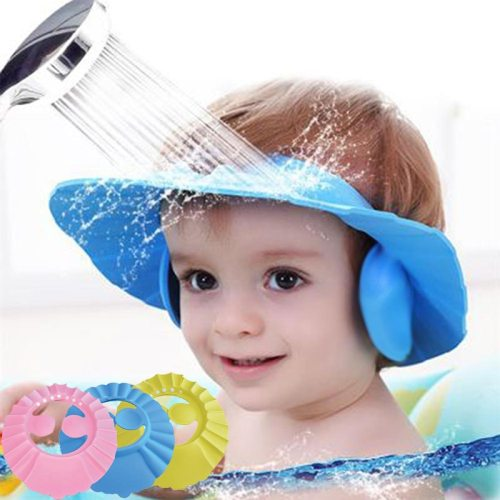Baby Shower Caps Shampoo Cap Wash Hair Kids Bath Visor Hats Adjustable Shield Waterproof Ear Eye Protection