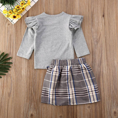Baby Girl Clothes Girls Warm Fly-Sleeve Long Sleeve Tops Toddler Bow Plaid Skirt Kids Outfit Autumn Winter 2PCS Set
