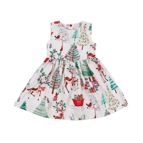 Cute Kid Baby Girl Christmas Cartoon Sleeveless Party Dress Baby Girl Cartoon Dress