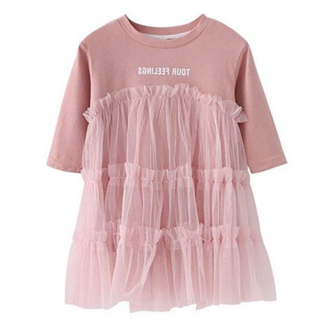 Baby Girls Sweet Print Patchwork Dress For Girls Kids Children Sundress