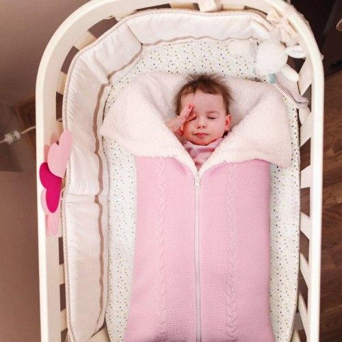 Baby Knitted Sleeping Bag Plus Velvet Newborn Outdoor Stroller Cover Blanket Envelope Thicken Zipper Anti-kick Sleepsacks