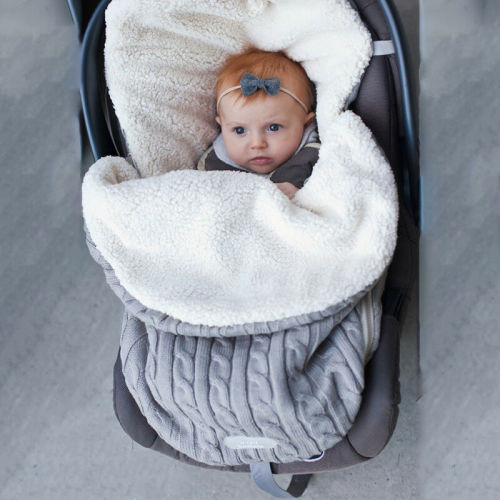 Newborn Baby Winter Stroller Wrap Blanket Footmuff Thick Warm Knit Crochet Swaddle Sleeping Bags