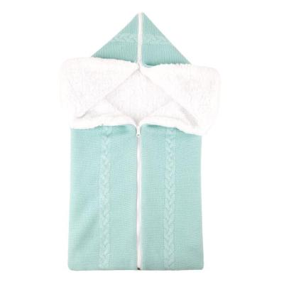 Baby Knitted Sleeping Bag Plus Velvet Newborn Outdoor Stroller Cover Blanket Envelope Thicken Zipper Anti-kick Sleepsacks