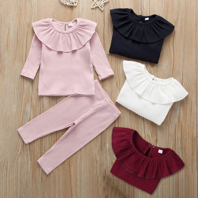 Baby Clothes Girl Ruffle Knitted Tops Girls Long Sleeve Solid T-Shirt Toddler Leggings Kid Pants Kids Outfits 2pcs Set