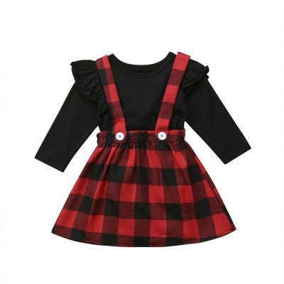 Newborn T-shirt strap Dress Set Girls Floral Clothes Suits Baby Princess Christmas Outfits