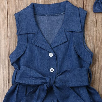 Toddler Kids Baby Girls 2PCS lovely Outfits clothes Denim  bow solid Headband Button Bandage sleeveless turn-down collar Romper