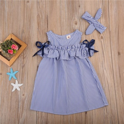 Girls Off Shoulder Dress Cute Newborn Baby Girls Short Sleeve Striped Princess Party Dresses