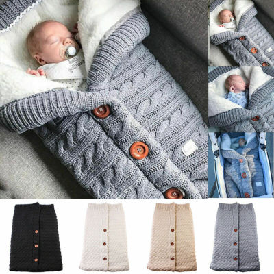Newborn Baby Winter Warm Sleeping Bags Solid Knittd Button Swaddle Wrap Swaddling Blanket