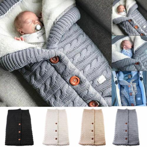 Newborn Baby Winter Warm Sleeping Bags Solid Knittd Button Swaddle Wrap Swaddling Blanket