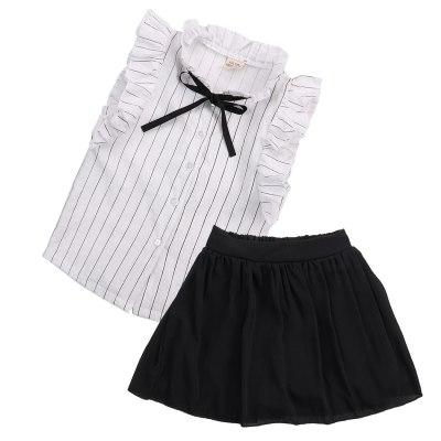 Girls Dress Kids Baby girl striped sleeveless Tops Skirt Outfits Clothes set