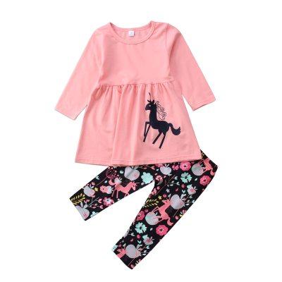 New cute Toddler kids Girl set clothes Unicorn long sleeve Tops+ floral Pants Outfits 2pcs set Clothes Set