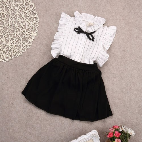 Girls Dress Kids Baby girl striped sleeveless Tops Skirt Outfits Clothes set