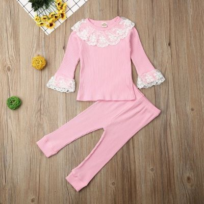 Baby Clothes Girls Lace Ruffle Tops Toddler T-shirt Kid Pants Autumn Outfit Girl Top Leggings Kids Tracksuit 2Pcs Set