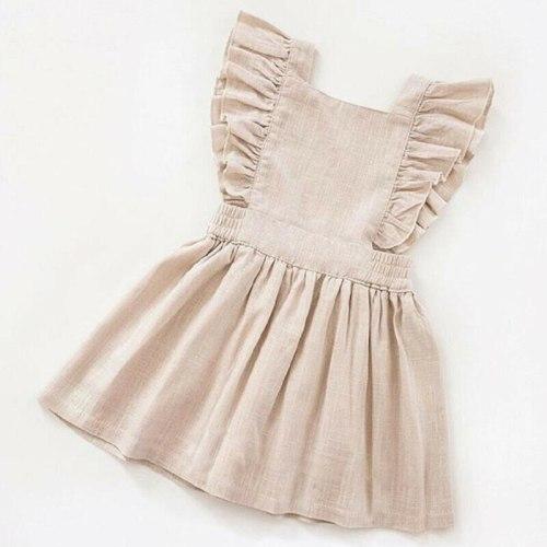 Baby Girl Dress Children Clothes Girls Ruffle Sleeve Dress Solid Sundress Kids