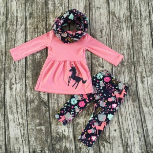 New cute Toddler kids Girl set clothes Unicorn long sleeve Tops+ floral Pants Outfits 2pcs set Clothes Set
