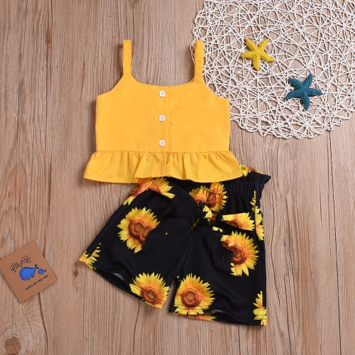 Toddler Baby Girl Clothes Sleeveless Strap Crop Ruffle Tops Sunflower Print Short Pants 2Pcs Outfits Clothes Summer