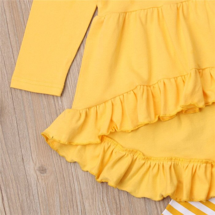 Kid Causal Costume Clothes Girls Yellow Ruffle T Shirt Dress Girl Striped Long Pants Kids Outfits Children Clothes Set