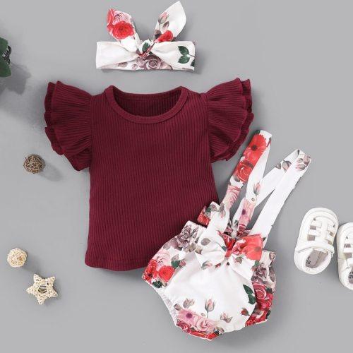 Summer Clothing Newborn Baby Girls Ruffle Shirt Tops Suspender Tutu Shorts Dress Pants Headband 3Pcs Outfits Sunsuit
