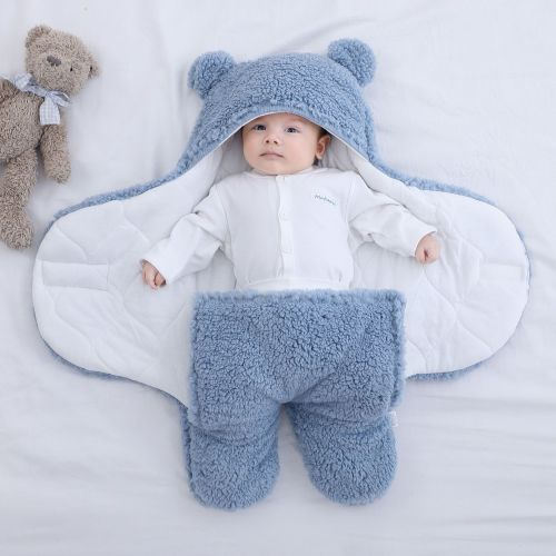 Baby Sleeping Bag Ultra-Soft Fluffy Fleece Newborn Receiving Blanket Infant Sleeping Nursery Wrap Swaddle