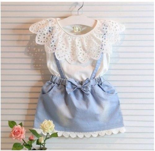 Baby Kids Girls cotton Dress Cute Princess Sleeveless Denim Tulle Bowknot High-quality Dresses