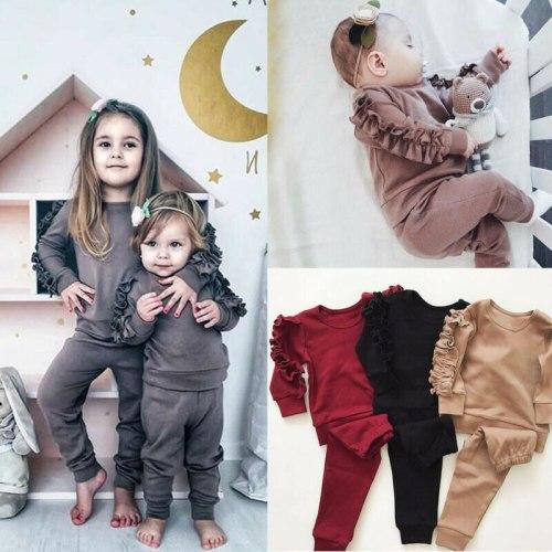 Newborn Baby Boys Girls Ruffles Decor Sweatshirt + Pants Solid Long Sleeve Infant kids Fall clothes 3 Color
