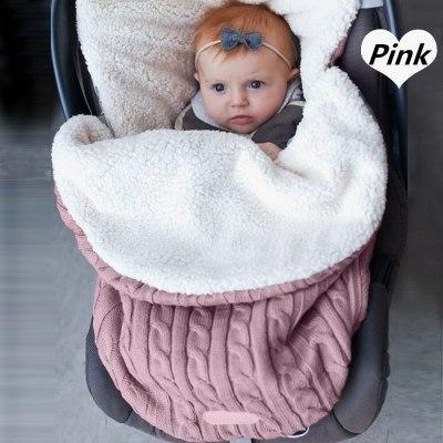 Newborn Baby Winter Stroller Wrap Blanket Footmuff Thick Warm Knit Crochet Swaddle Sleeping Bags