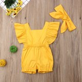 Newborn Baby Girl Clothes Fly Sleeve Ruffle Romper Jumpsuit Headband 2PCS Outfits Set