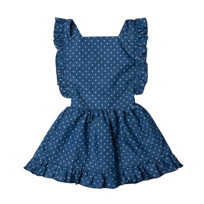 Newborn Girl Back Cross Backless Blue Dot Sleeveless Dress Girls Princess Party Dress