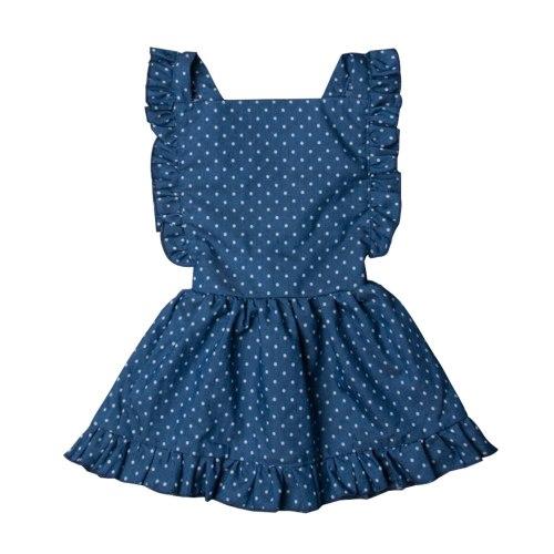 Newborn Girl Back Cross Backless Blue Dot Sleeveless Dress Girls Princess Party Dress