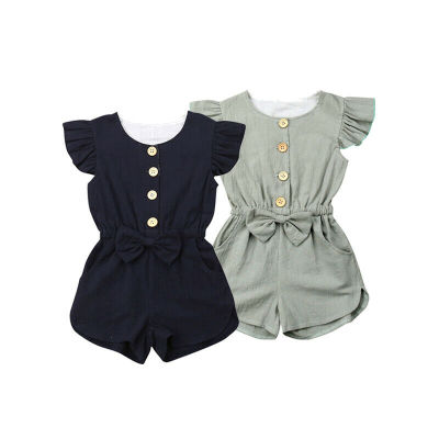 Baby Girls Ruffles Sleeve Romper Kids One Piece Jumpsuit Outfits Toddler Clothes Sunsuit