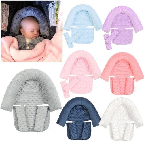 Baby Car Safety Soft Sleeping Head Support Pillow with Matching Seat Belt Strap Covers Baby Carseat Neck Protection Headrest