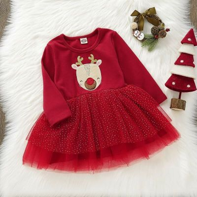 Baby Dress Christmas Toddler Infant Baby Girl Clothes Long Sleeve Lace Dress
