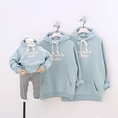 Hoodies Family Matching Outfits Sport Sweatshirts for a Family of Three Hooded Parent-Child Clothing