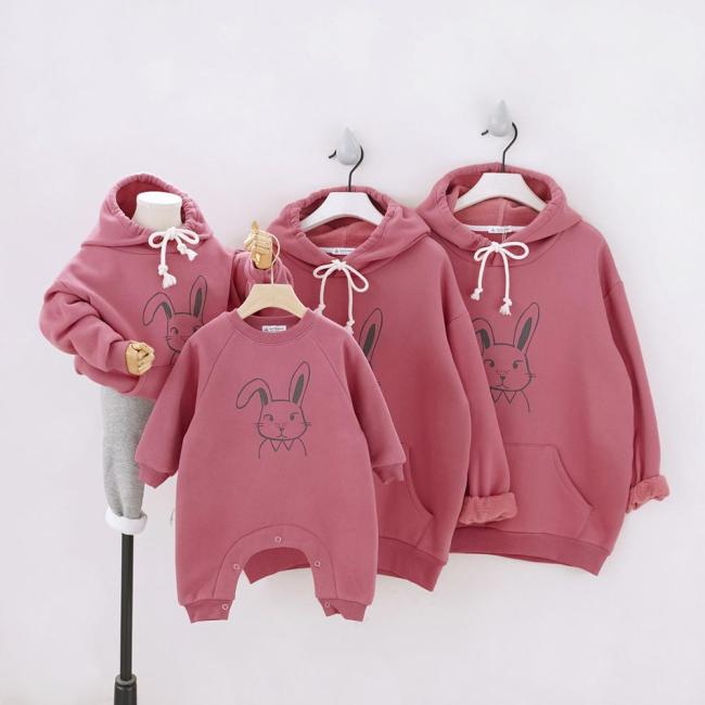 Winter Plus velvet Couple Set Hoodies Rabbit Family Matching Outfits Sweatshirt Parents & Children Shirt Baby Long Romper
